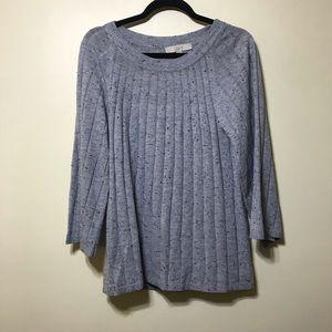 Loft  Lg gray sweater with specks of black